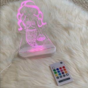 Girls Mermaid LED 3Dillusion night light multiclr
